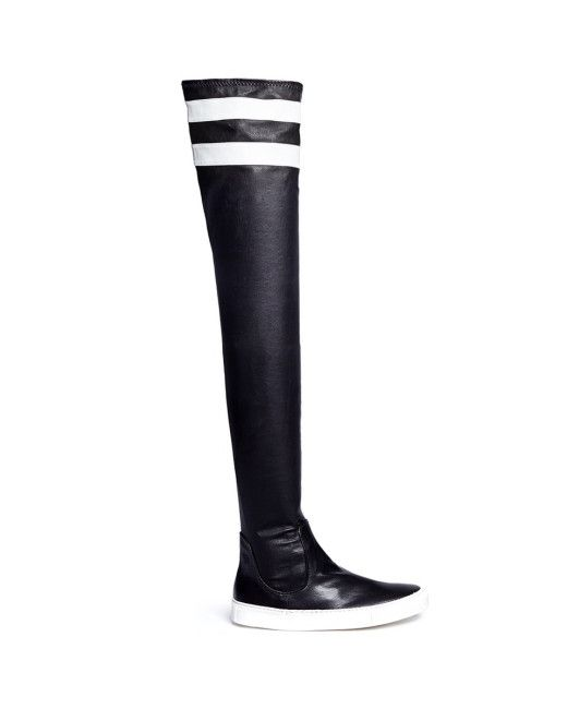 Eugene Riconneaus | Black 'e-high' Contrast Stripe Leather Sneaker Boots | Lyst