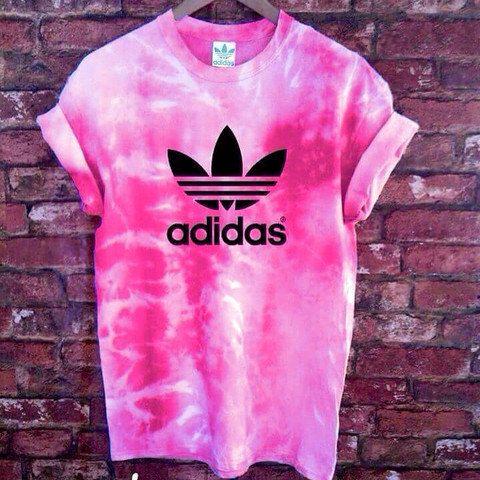 Unisex Authentic Adidas Originals Tie Dye Flamingo Pink Tie Dye T-shirt