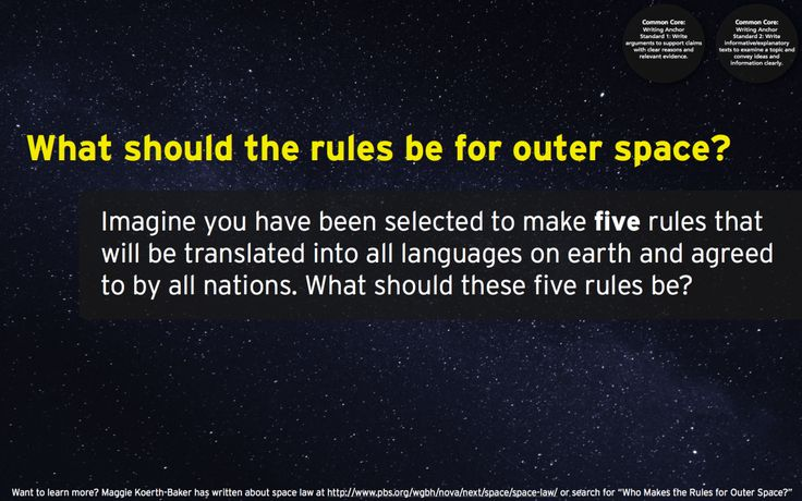 #820What should the rules be for outer space?Want to learn more? Maggie Koerth-Baker has written about space law at http://www.pbs.org/wgbh/nova/next/space/space-law.image by Scott Wylie, CC BY 2.0