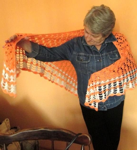 Hand Crochet Shawl  Handmade Shawl, Neon Orange Shawl,   Crochet Wrap, Boho Chic by AlicjaCollection on Etsy