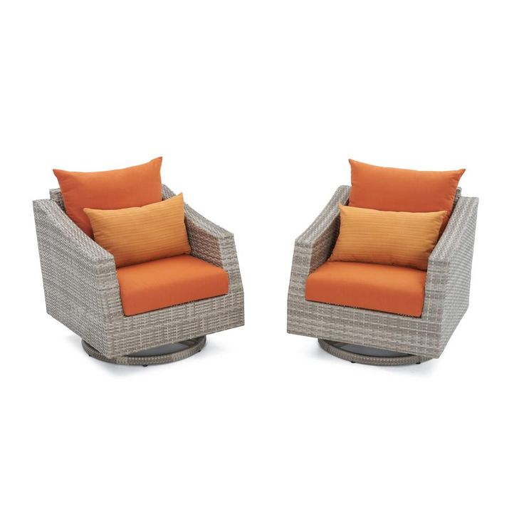 Marvelous RST Brands Cannes All Weather Wicker Motion Patio Lounge Chair With Tikka  Orange Cushions (