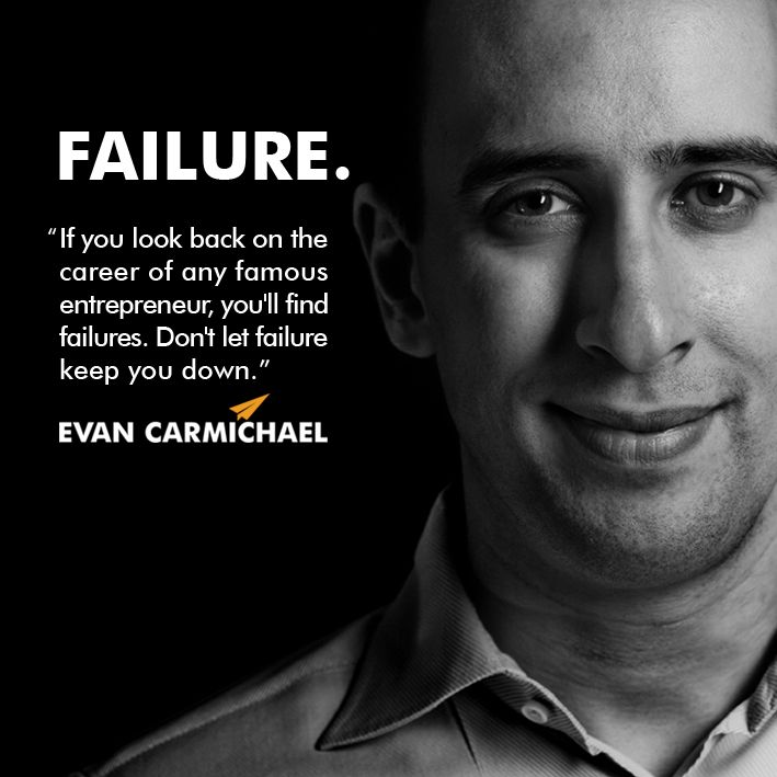 """""""If you look back on the career of any famous entrepreneur, you'll find failures. Don't let failure keep you down."""" - Evan Carmichael #Believe - http://www.evancarmichael.com/blog/2013/12/16/look-back-career-famous-entrepreneur-youll-find-failures-dont-let-failure-keep-evan-carmichael-believe/"""