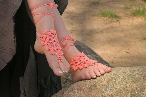 Barefoot sandals (adornos para pies descalzos) de ganchillo
