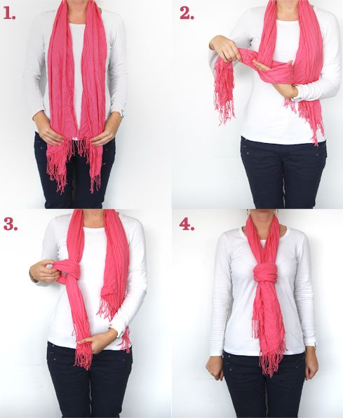 The Fake Knot | 1. Drape the scarf over your shoulders so it hangs evenly in front | 2. Make a knot in one end of the scarf | 3. Pull the kn...