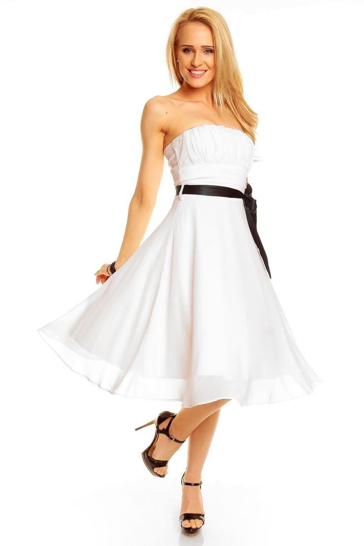 Robe de soirée robe courte bustier couleur blanc ceinture noir TM-181 - Toufamode