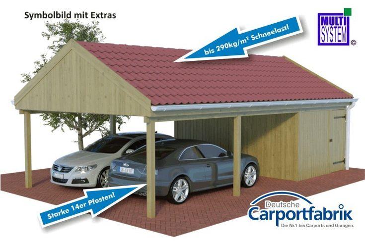 MULTI-Satteldach-Doppelcarport mit starken 290kg/m² Dachlast und Abstellraum