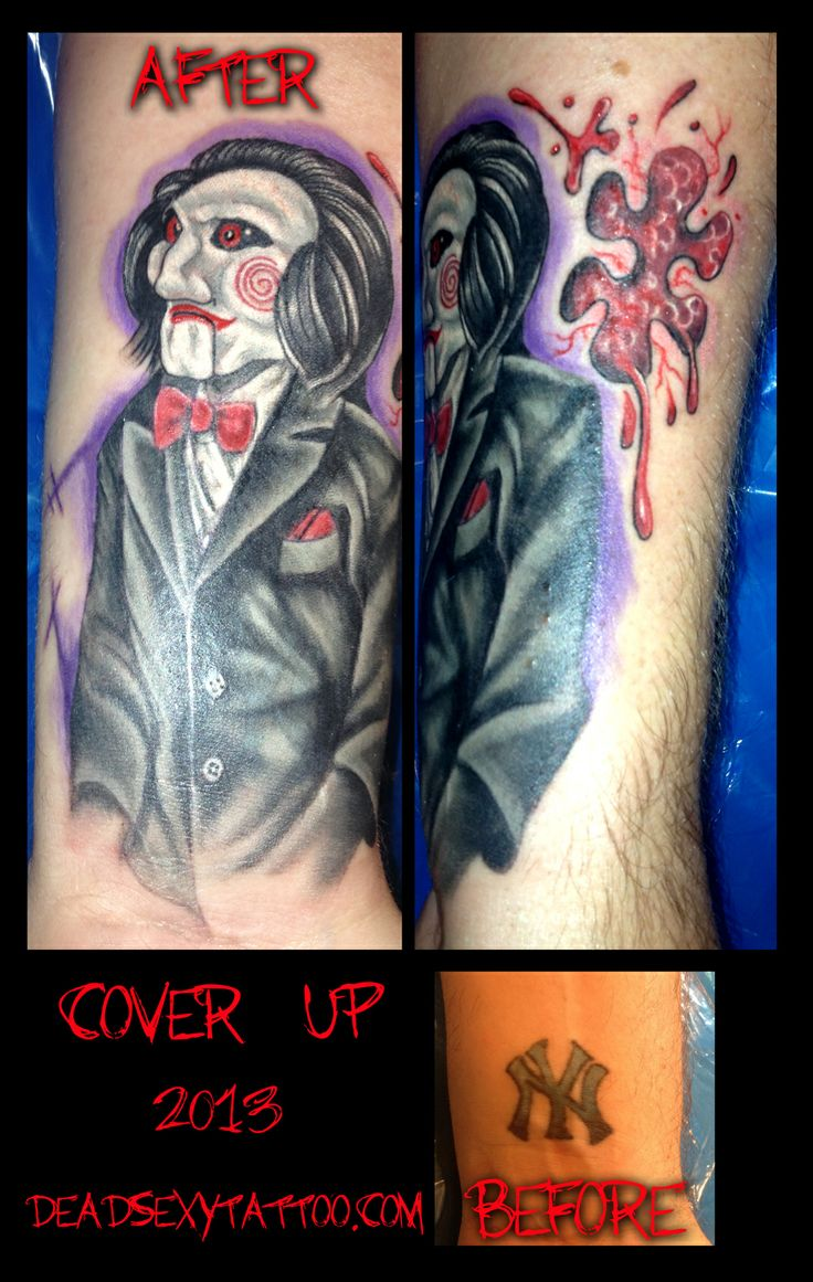 Billy the Puppet from the SAW Movie Series by Mandy Snyder of Lucky Monkey Tattoo in Ann Arbor, Michigan.