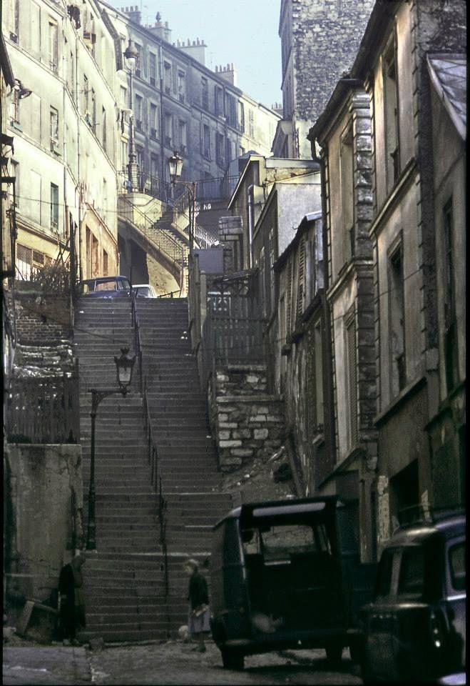 #photo Escalier du passage Julien Lacroix1965 © Serge Degoud #PEAV #Paris20 @Menilmuche @ParisHistorique