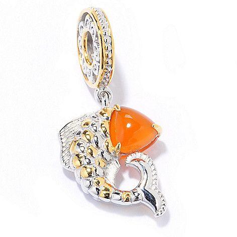 140-134 - Gems en Vogue Trillion Carnelian Koi Fish Double-Sided Drop Charm