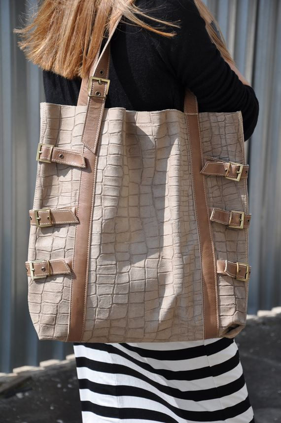 Beige handmade oversized tote croco leather bag