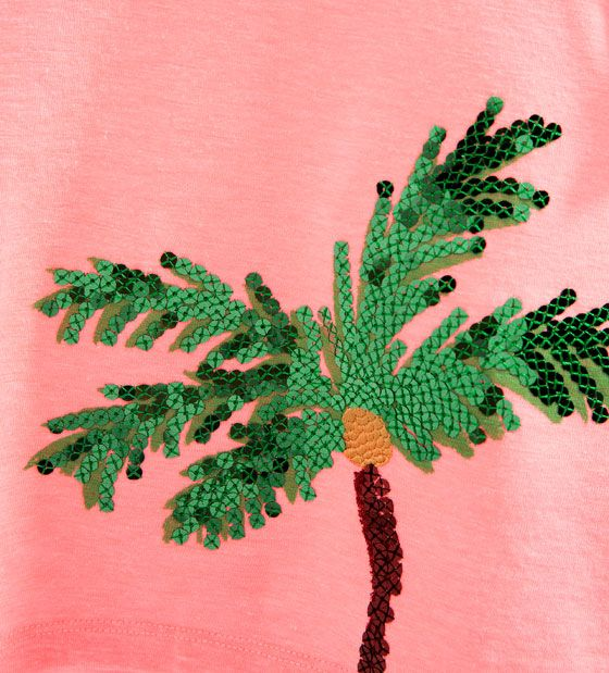 Image 5 of Sequin palm tree T-shirt from Zara
