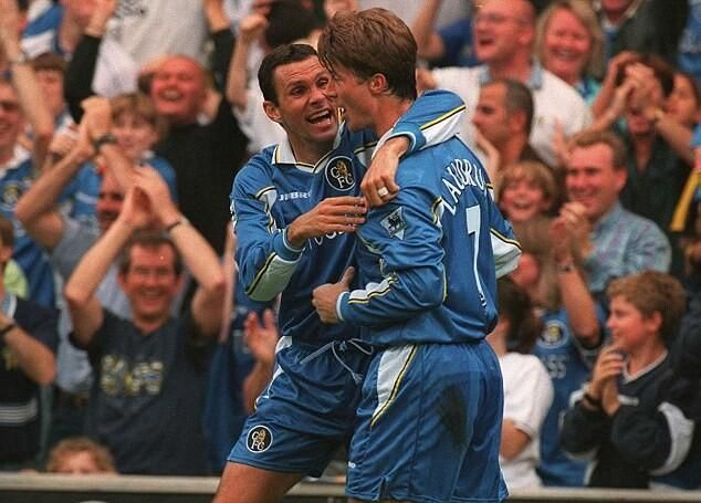 "Gustavo ""Gus"" Poyet (Chelsea FC, 1997–2001, 105 apps, 36 goals) and Brian Laudrup (Chelsea FC, 1998, 7 apps, 0 goal)"
