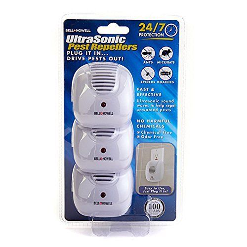 Ultrasonic sound waves help to eliminate Mice, Rats, Roaches, Spiders and Ants. Plug It In … Drive Pests Out! Perfect for Use In: – Homes & Offices – Safe & Effective. Easy To Use. Just Plug It In! … Drive Pests Out! Speaker Broadcasts various ultrasonic sound... more details available at https://perfect-gifts.bestselleroutlets.com/gifts-for-holidays/electronics/product-review-for-3-pack-bell-howell-ultrasonic-pest-repellers-with-dusk-to-dawn-s