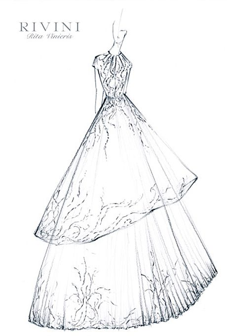 Wedding dress sketch for Savannah Guthrie   Rivini   brides.com