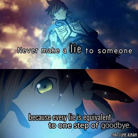 Tales of Zestria,never make a lie to someone, because every lie is equivalent to one step of goodbye