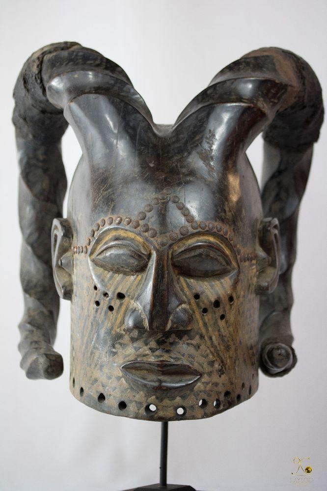 Kuba Helmet Mask Ram Horns Congo African Art