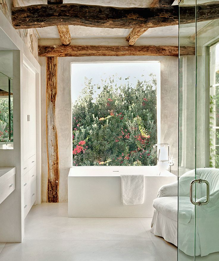 More Wooden Beam Interior Bathroom Design Richard Shapiros Charming House In Malibu