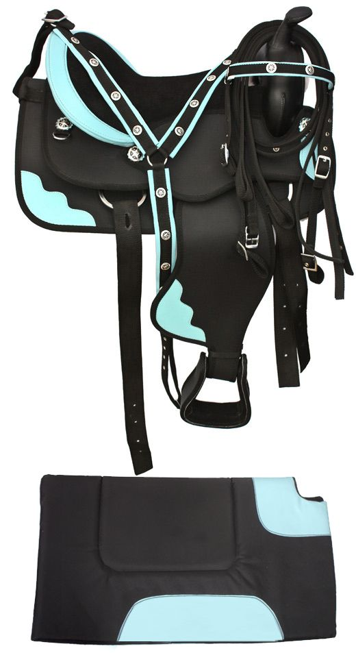 Premium Black Blue Synthetic Horse Saddle With Tack 16-17. For you know, someday when i have another horse! Would love this in purple!