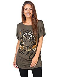 New KRISP Womens Casual Oversized Batwing Tiger Print T-shirt Summer Top Tee online. Find the perfect Hotouch Tops-Tees from top store. Sku TWVY40627BAPB23431
