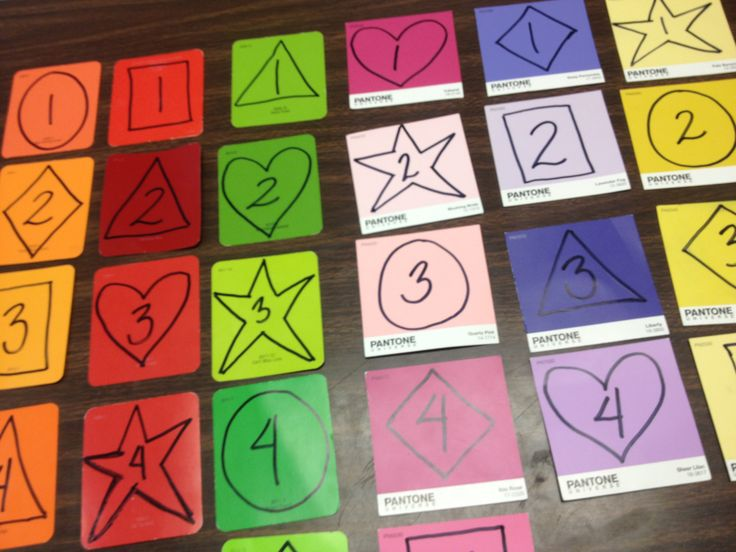 Paint Chip groups- colors, shapes or numbers