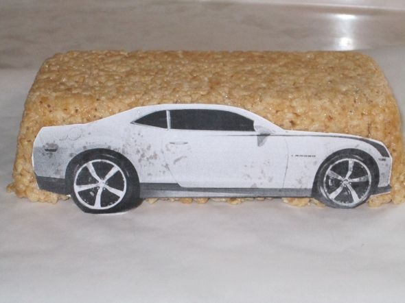 How to carve a cake car with rice krispy treats....I may be trying this.