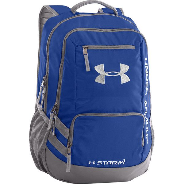 Under Armour Hustle Backpack II Laptop Backpack ($55) ❤ liked on Polyvore featuring bags, backpacks, blue, laptop backpacks, top handle bag, laptop rucksack, rucksack bag and backpacks bags