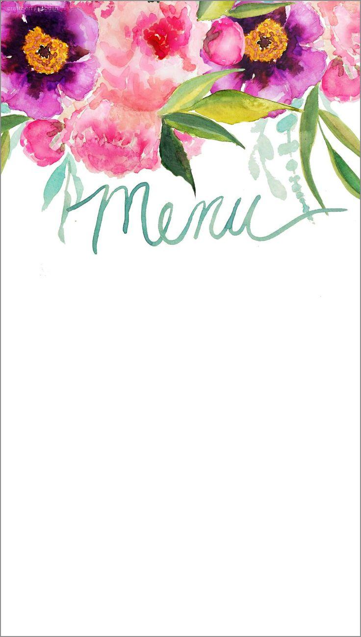 Craftberry Bush   Customizable watercolor printable menu   http://www.craftberrybush.com