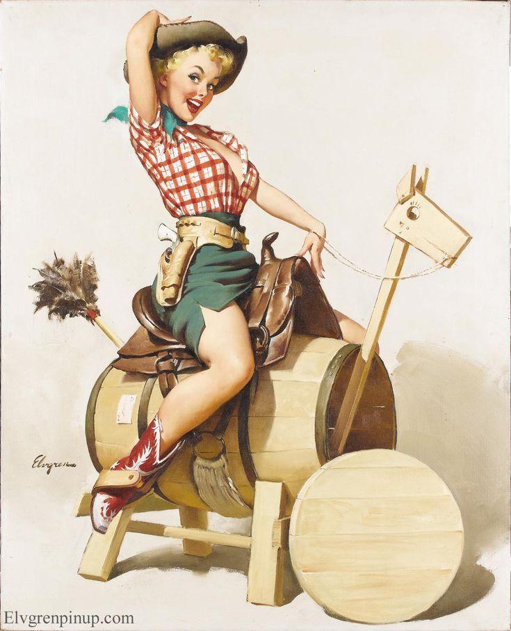 Vintage cowgirl. Elvgren