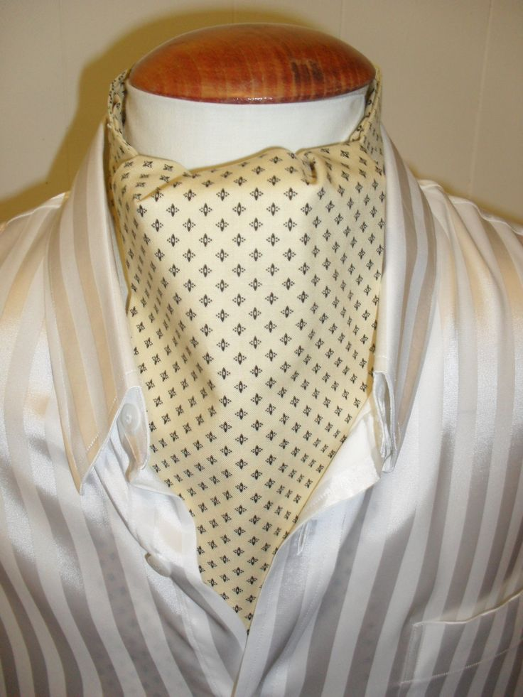 Cream / pale yellow cravat with a delicate black pattern.  Wedding cravat. by LDCcreations on Etsy