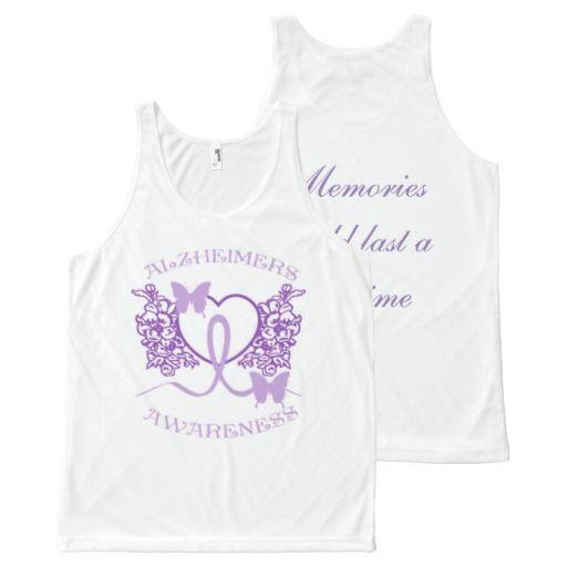 Alzheimers Awareness Purple Butterflies Unisex White Tank Top