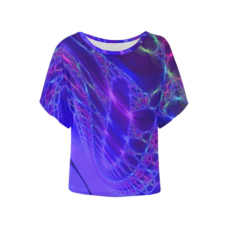 Iris Petal Fractal by Gingezel Women's Batwing-Sleeved Blouse T shirt (Model T44).This fractal has the rich colors of an iris in full bloom sparkling with dew drops. A deep purple that is almost blue, sparks of pink.