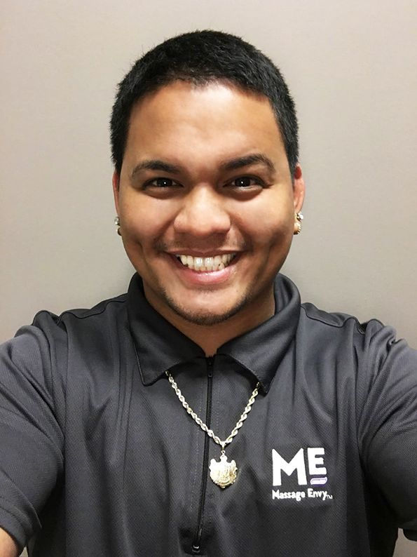 "#featurefriday Employee Feature: Meet Kaipo, one of our #Front #Desk #Sales #Associate at our #Kapolei #MassageEnvy. #spa Kaipo best vacation was going to Galveston Texas and visiting Moody Gardens. What he likes most about his position at Massage Envy is ""I like being able to help people understand the importance of massage and I love working with the people I work with."""