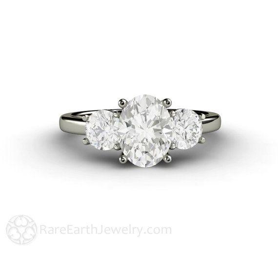 Tres anillo de compromiso piedra Oval Blanco zafiro anillo de