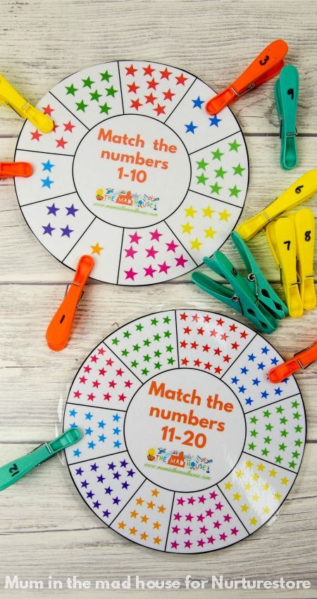 Free printable number wheel for number recognition, number matching games, subitising activities and games to learn number bonds to 10 or 20