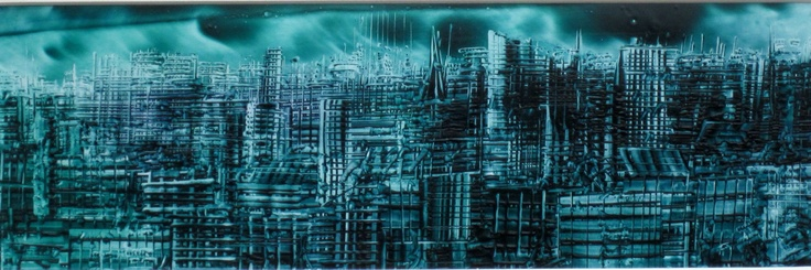 Blue-green cityscape - Phil Madley
