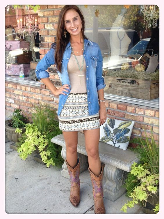 Taupe Aztec Skirt- I love the whole outfit, but I think I'd love it even more without the denim.: