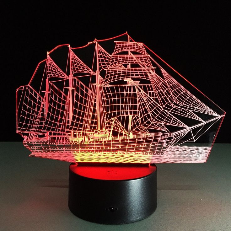 Yeduo Creative 3D LED Night Light Acrylic Sailing Boat Shape Discoloration Lamp - COLORMIX