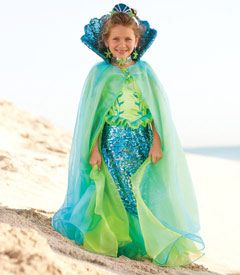 blue fairytale mermaid cape - this dramatic cape is styled with a pretty shell collar and layers of blue chiffon that flow in the breeze. perfect for a mermaid.