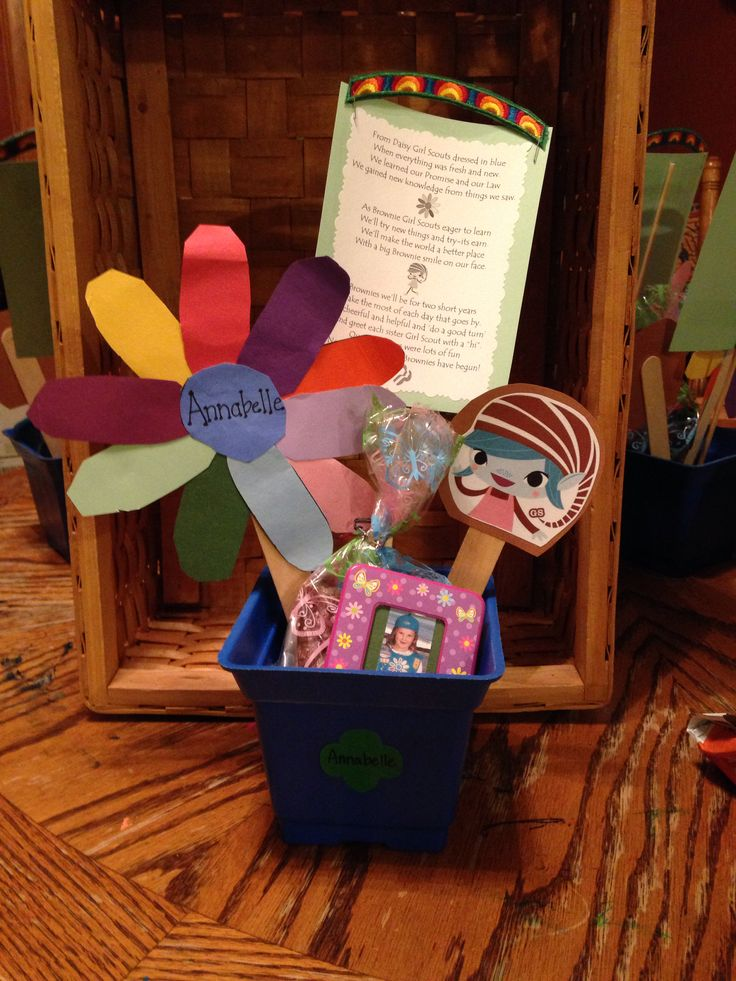 Made these for my girls bridging to brownies. The flower was from their Daisy Kaper Chart. I added the Brownie Elf and a bridging poem with the rainbow badge stapled to the top. I included a homemade brownie and picture magnet in their Daisy uniform.