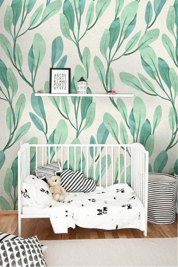 Green watercolor leaf wallpaper Botanical leaves wallpaper
