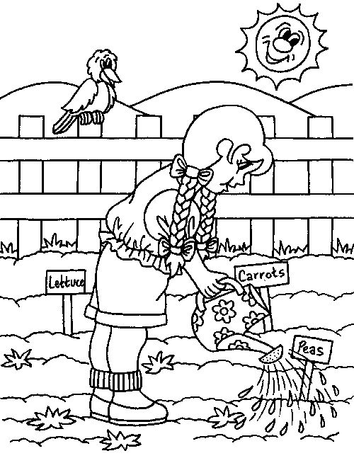 Spring Gardening Coloring Page For Kids