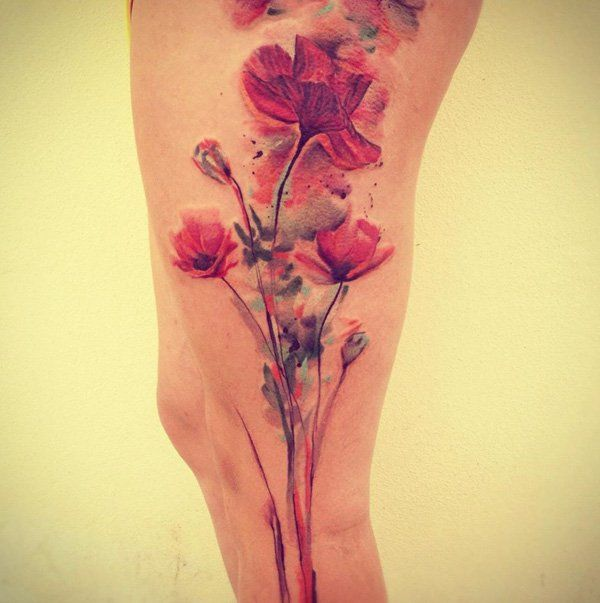 3 Watercolor  Poppies Tattoo on Leg