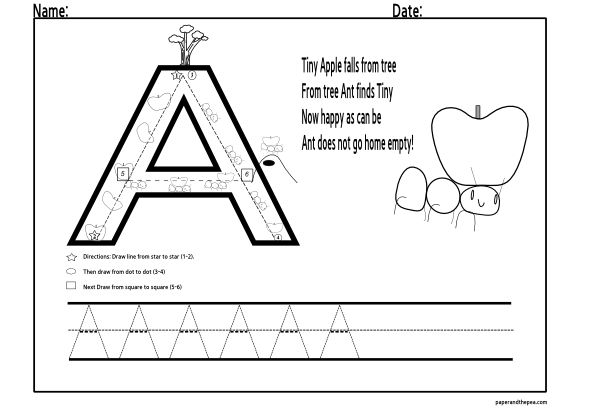 preschool worksheets alphabet tracing alphabet letters to trace letter a paper and the pea. Black Bedroom Furniture Sets. Home Design Ideas