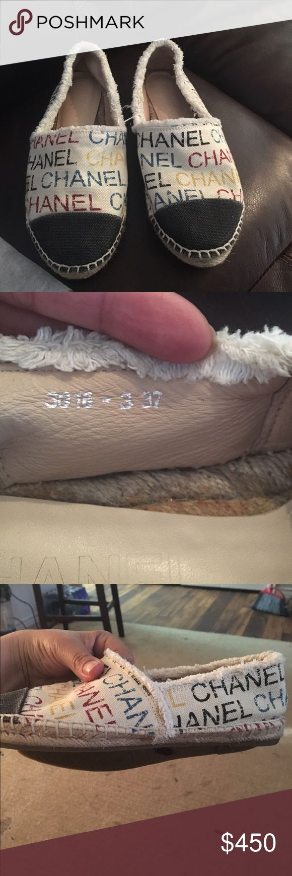 Chanel size 37 usa sz 6.5 💯Authentic Chanel espadrilles multicolor with the logo in a good condition they only have 2 small spots in the bottom of the shoes it doesn't affect or show when you wear them other then that they have still have plenty life please no low balls those shoes are expensive my price is firm please look the pictures for more accurate description CHANEL Shoes Espadrilles