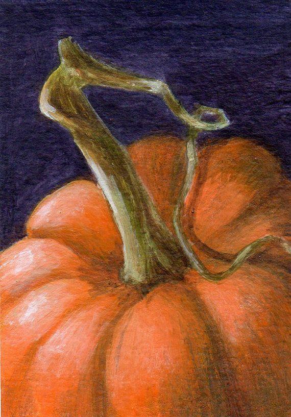 Small Acrylic Painting of Pumpkin Original ACEO by ShirleyArt, $15.00