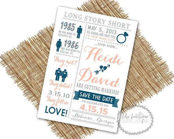 Our Love Story SAVE THE DATE {Long Story Short, Heres Our Story,Relationship Timeline}-Unique Save The Date-Digital Printable 5x7 on Etsy, $16.00