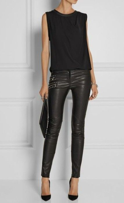 Leather pants and black top