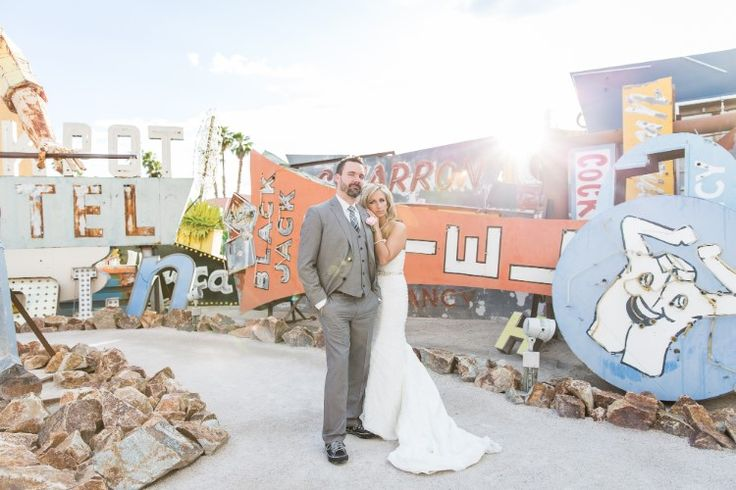 Las Vegas wedding portraits at the Neon Museum (Erik and Alicia Photography)