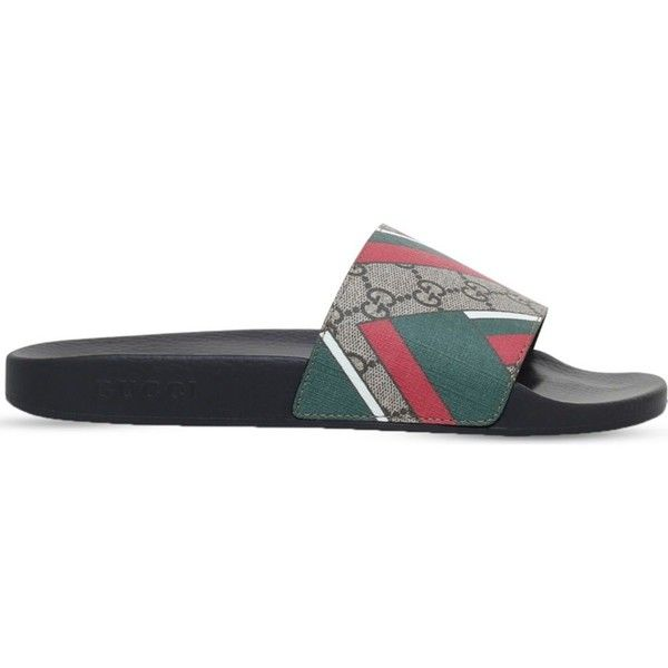 gucci 72 pursuit. gucci pursuit monogram and chevron-print slides ($255) ❤ liked on polyvore featuring 72