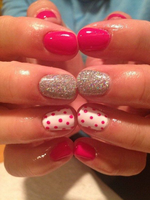 Hot Pink and White Polka Dot Nails with Silver Glitter Accents. (via forcreativejuice.com)